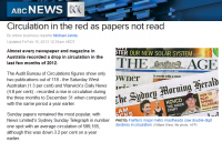 ABC online today reporting the steep decline in newspaper circulation in the last quarter.