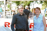 Macquarie Labor Candidate Susan Templeman and Andrew Punch MP at the protest.
