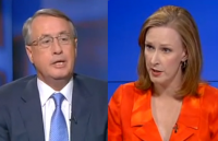 Australian Treasurer Wayne Swan and ABC 7.30 studio host Leigh Sales. (Image composite screen shot  from ABC 7.30).