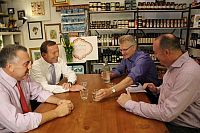 Joe Hockey, Tony Abbott, Bill Glasson and a small business owner on the campaign trail in Griffith on the day of #menugate: 28 March 2013.