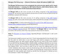 Interesting blurb on polling accuracy from latest Morgan press release.