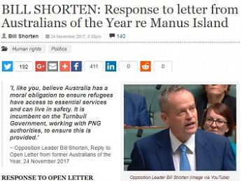 Bill Shorten's reply to Australians of the Year regarding Manus — inadequate