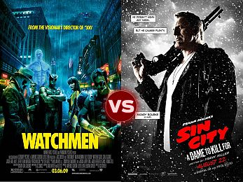 Screen Themes: Watchmen vs Sin City: A Dame to Kill For