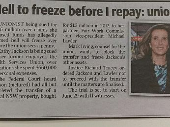 Kathy Jackson and the proceeds of crime