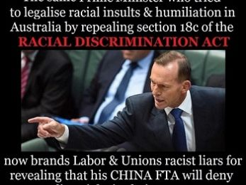 Tame media lets adversarial Abbott play race card in Chinese trade deal debate