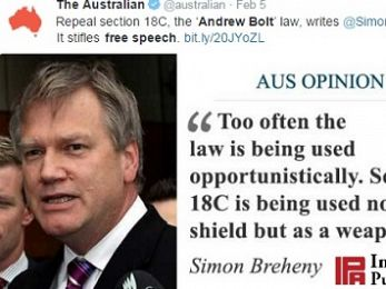 Murdoch spreads the IPA's porkies about 'the Andrew Bolt law'