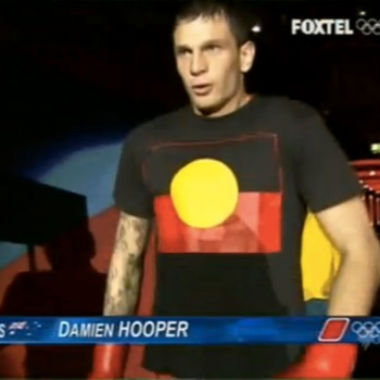 Damien Hooper and the Indigenous Australian flag