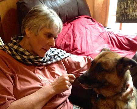 Kaye Hargreaves with her beloved dog Chance.