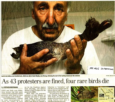 Laurie Levy with a dead freckled duck, page 3 of The Age