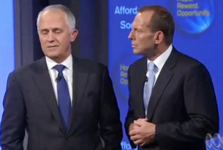 Stop the bytes! A very uncomfortable looking Malcom Turnbull and Tony Abbott share the stage at Murdoch''''''''s Foxtel studios to launch the Coalition''''''''s broadband policy - already dubbed
