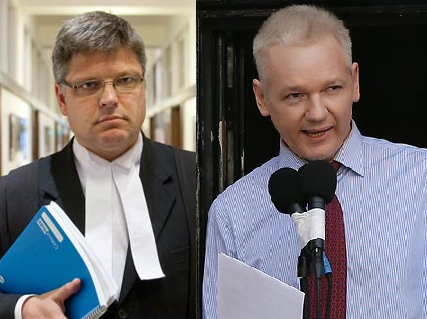 Joining forces: Greg Barns and Julian Assange.