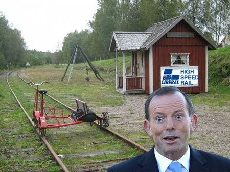 From Twitter: Coalition unveils high-speed rail plan.