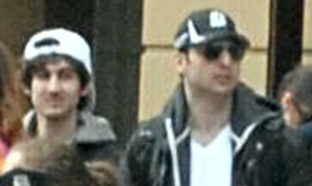 Dzhokhar and Tamerlan Tsarnaev. The older brother was shot dead by police.