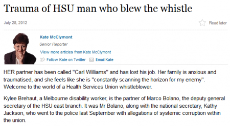 Marco Bolano was a brave whistleblower according to Kate McClymont. (Click on image to read the article on the Fairfax website.)