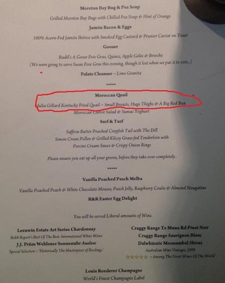 Menu at a Liberal Party fundraiser.