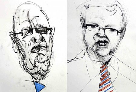 Murdoch can''''t compete with Rudd, says Bob Ellis. (Caricatures by John Graham / johngraham.alphalink.com.au)