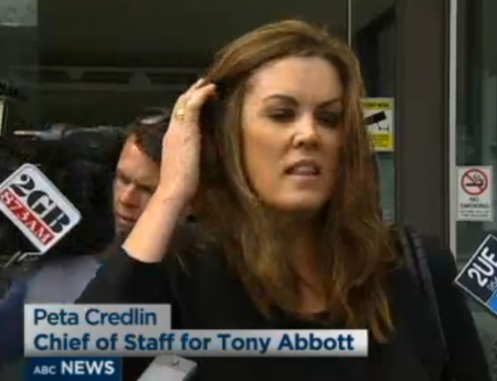Peta Credlin being interviewed outside the Canberra Magistrates Court. (Click on the image to see the interview on the ABC website)