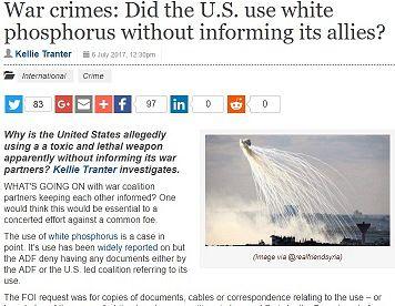 Australia knew U.S. was using white phosphorus in Iraq and Syria
