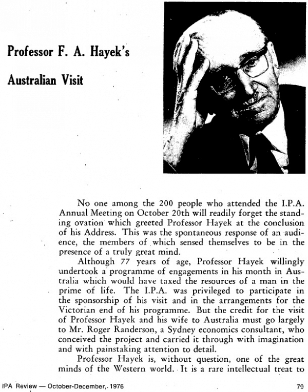 Tony Greenstein Blog: The IPA, Friedrich Hayek And The 'socialist Conservative