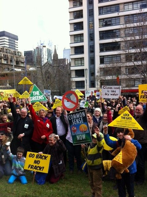 Anti-CSG rally Melbourne, 18 August.