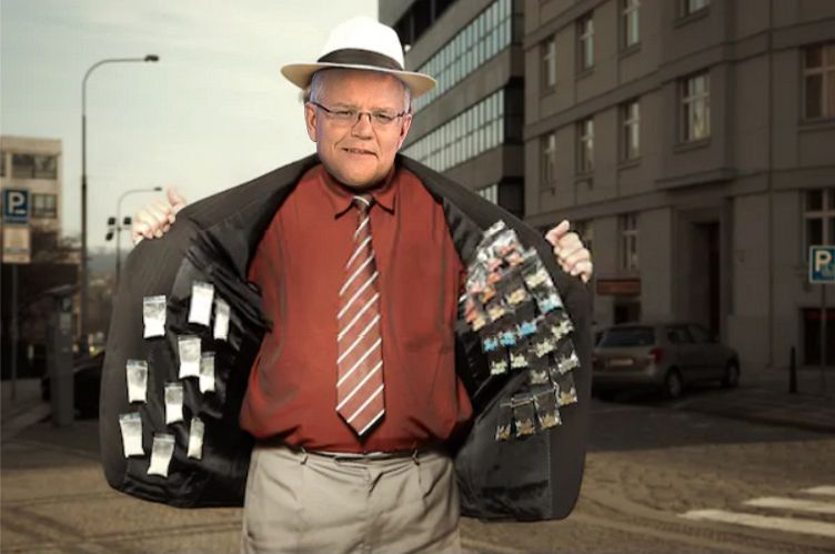 Scott MOrrison pusher man, selling opiates to the masses