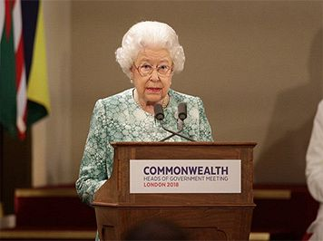 Queen Elizabeth Ii Speaking At Chogm 2018 Image Via Twitter Proroyalfamily